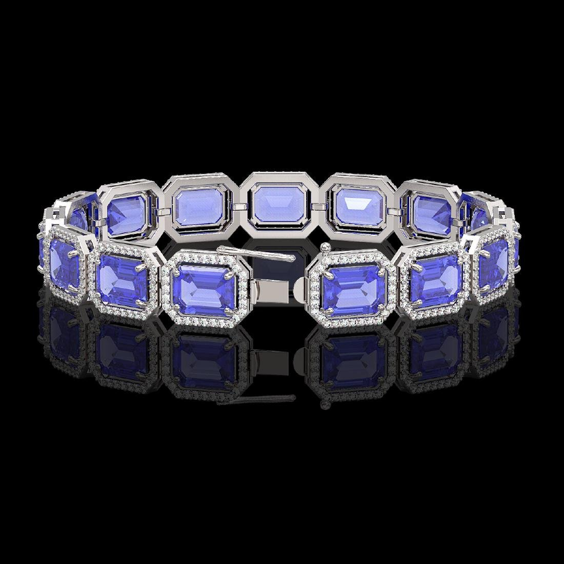 36.37 CTW Tanzanite & Diamond Halo Bracelet 10K White - 2