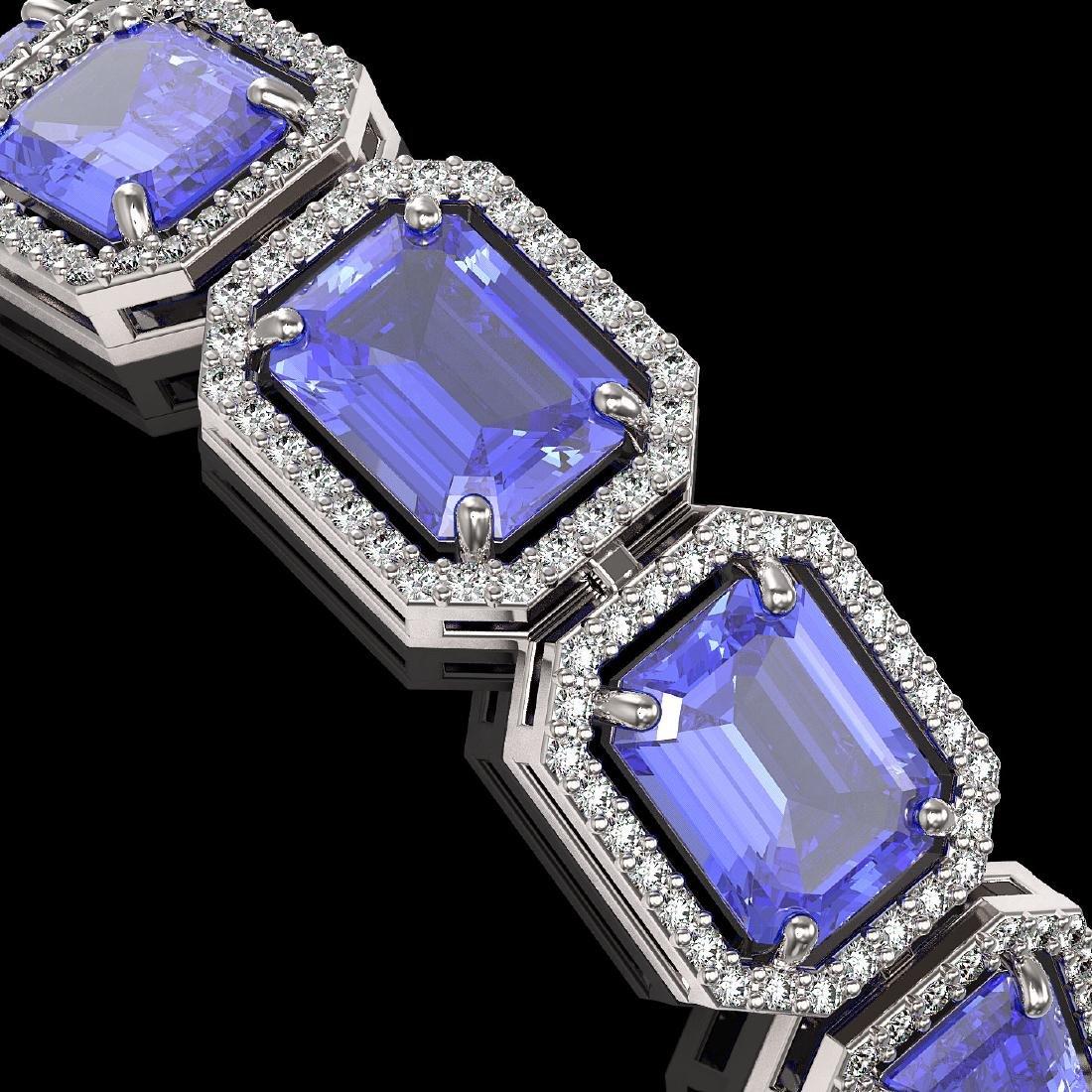 36.37 CTW Tanzanite & Diamond Halo Bracelet 10K White - 3
