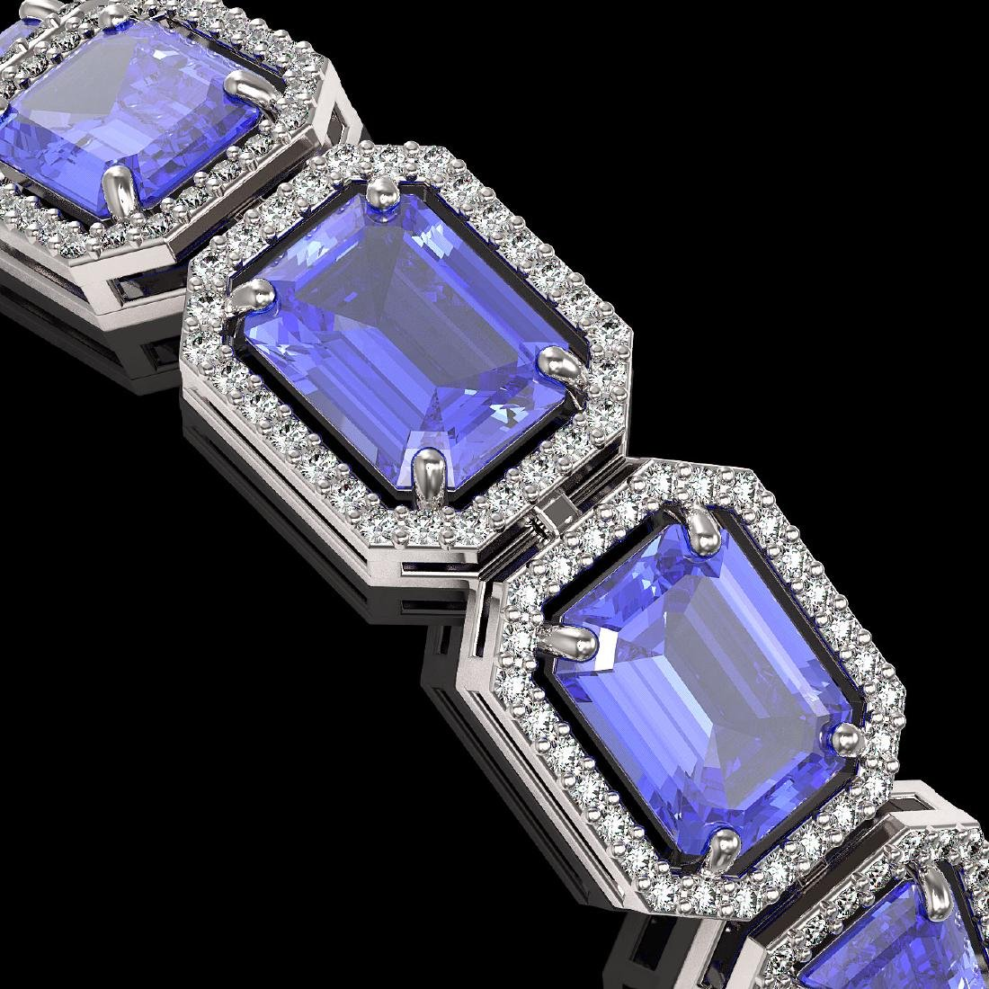 36.37 CTW Tanzanite & Diamond Halo Bracelet 10K White - 3