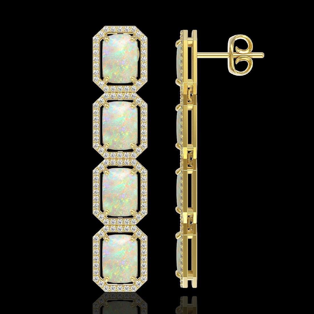12.99 CTW Opal & Diamond Halo Earrings 10K Yellow Gold