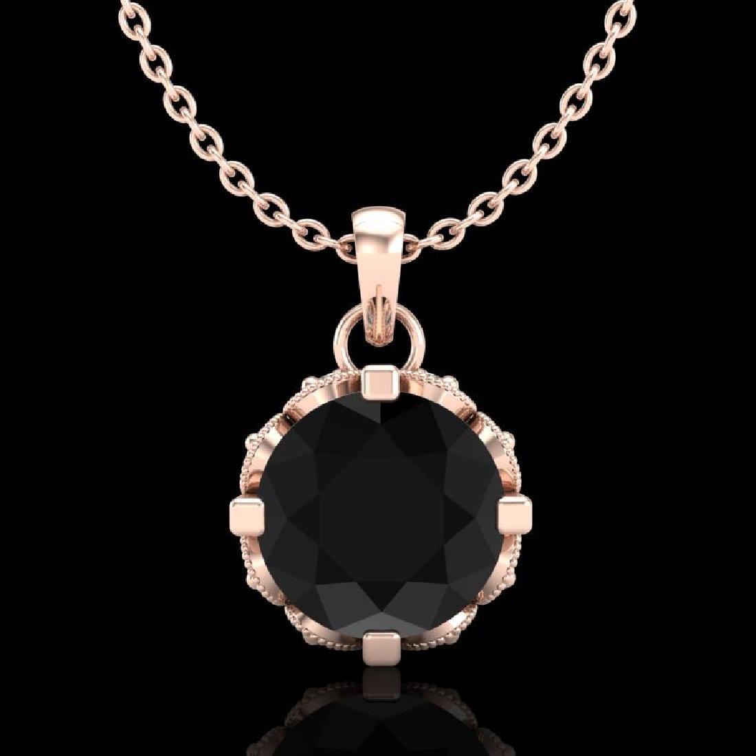 1.14 CTW Fancy Black Diamond Solitaire Art Deco Stud