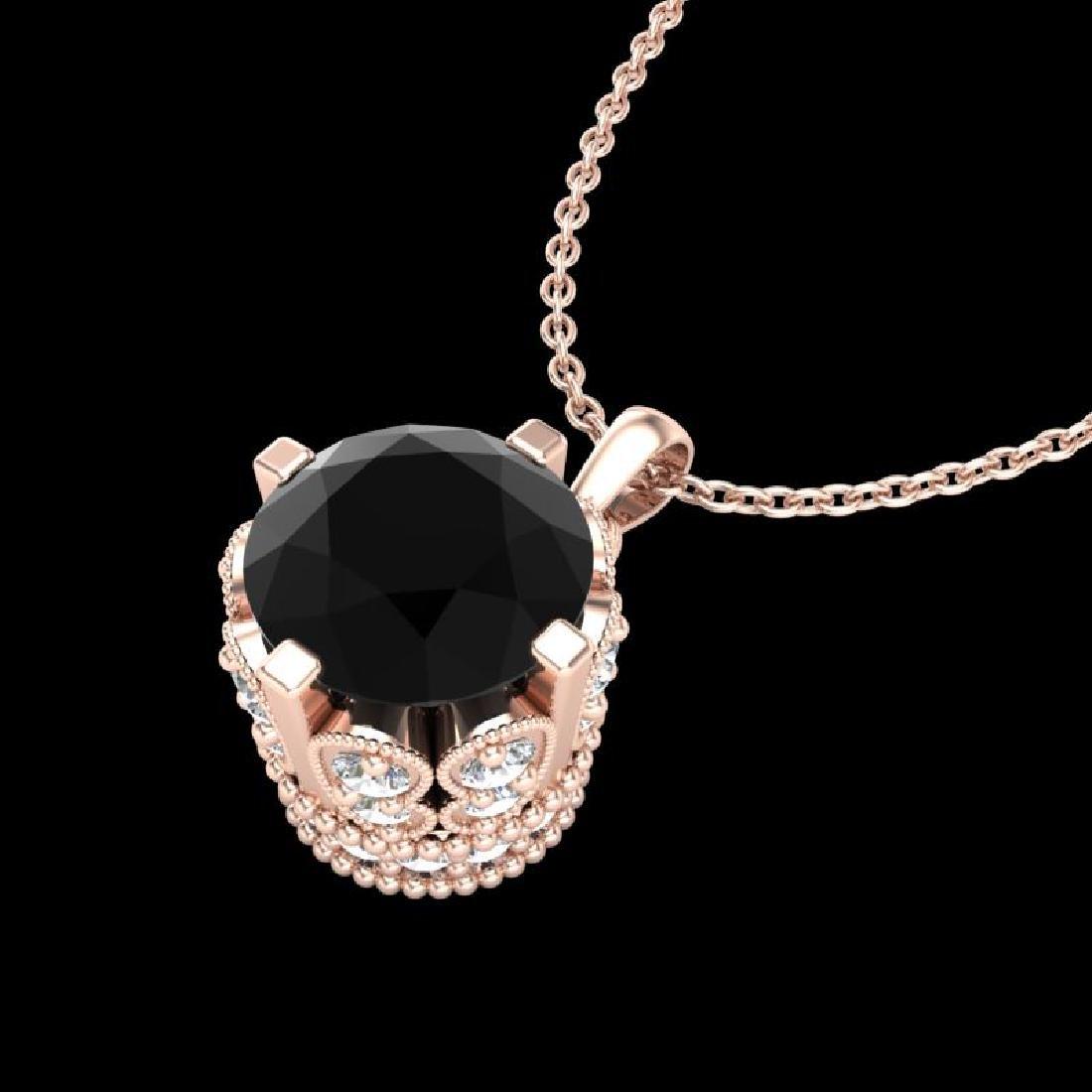 1.14 CTW Fancy Black Diamond Solitaire Art Deco Stud - 2