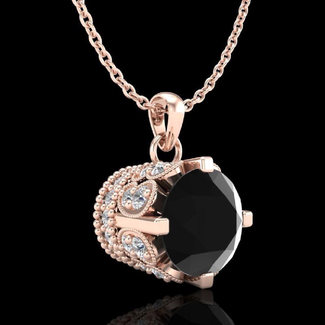 1.14 CTW Fancy Black Diamond Solitaire Art Deco Stud - 3