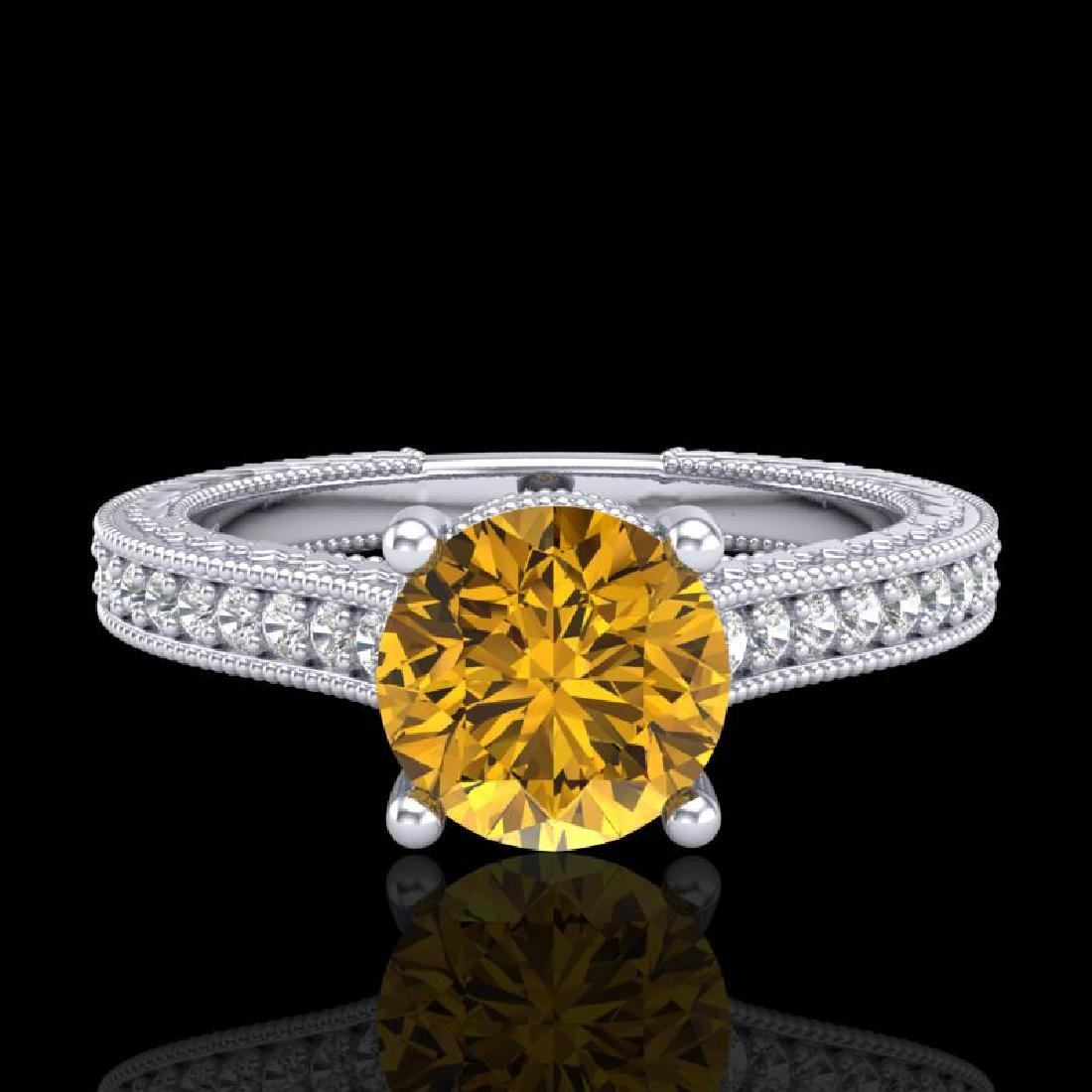 1.45 CTW Intense Fancy Yellow Diamond Engagement Art - 2