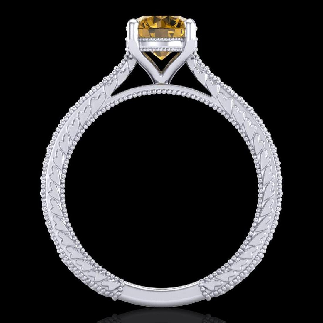 1.45 CTW Intense Fancy Yellow Diamond Engagement Art - 3