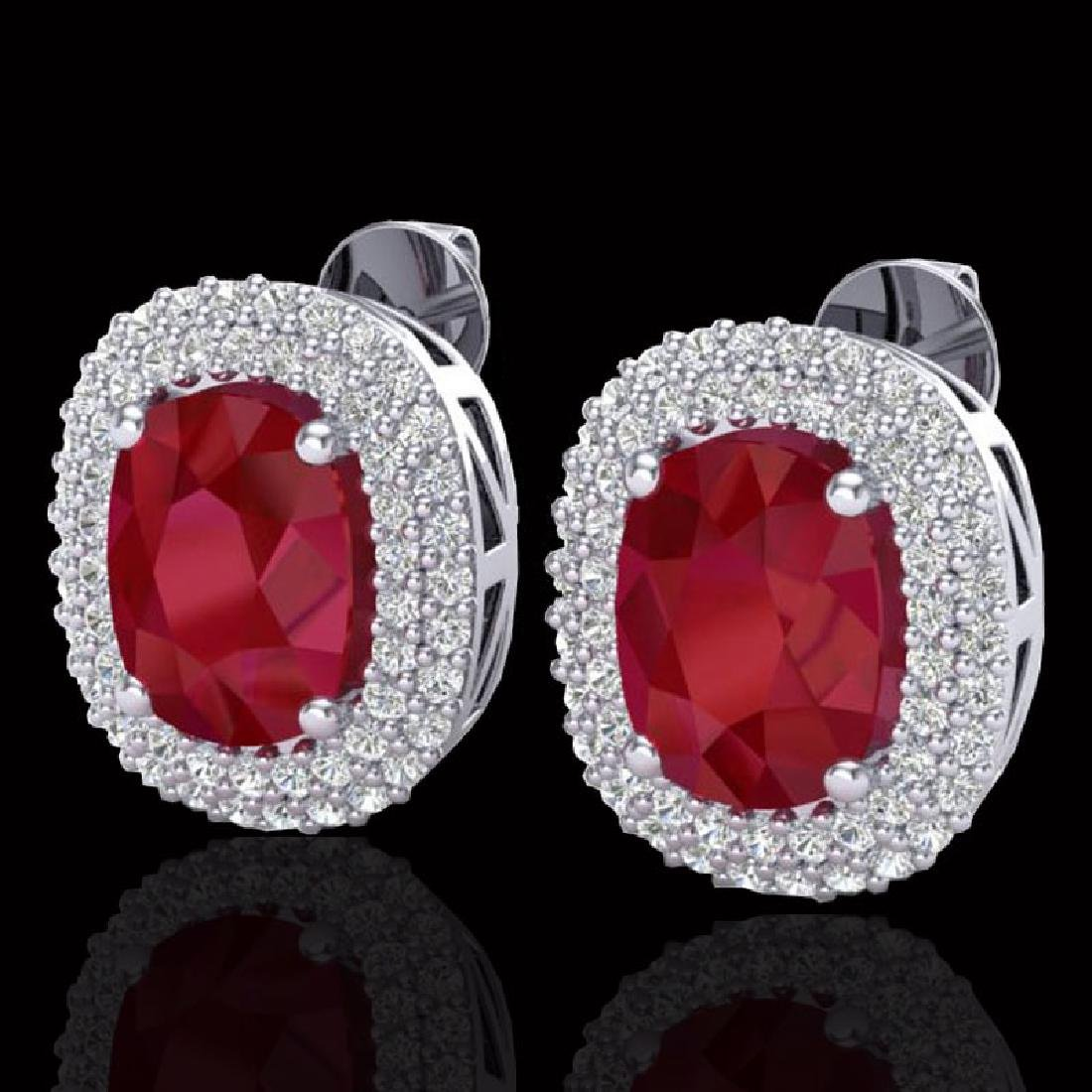 6.30 CTW Ruby & Micro Pave VS/SI Diamond Halo Earrings