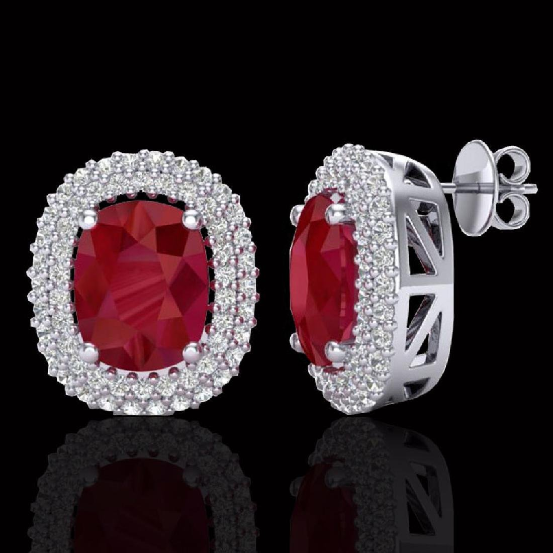6.30 CTW Ruby & Micro Pave VS/SI Diamond Halo Earrings - 2