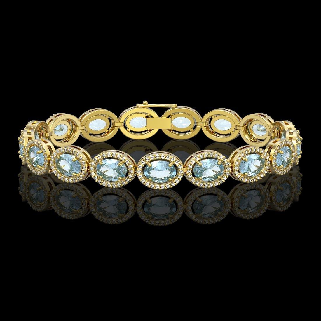 18.38 CTW Aquamarine & Diamond Halo Bracelet 10K Yellow