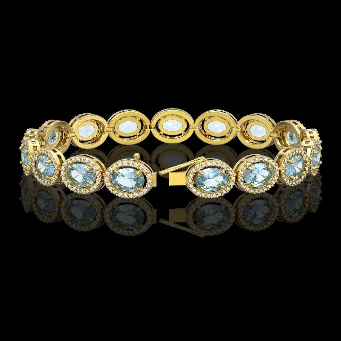 18.38 CTW Aquamarine & Diamond Halo Bracelet 10K Yellow - 2