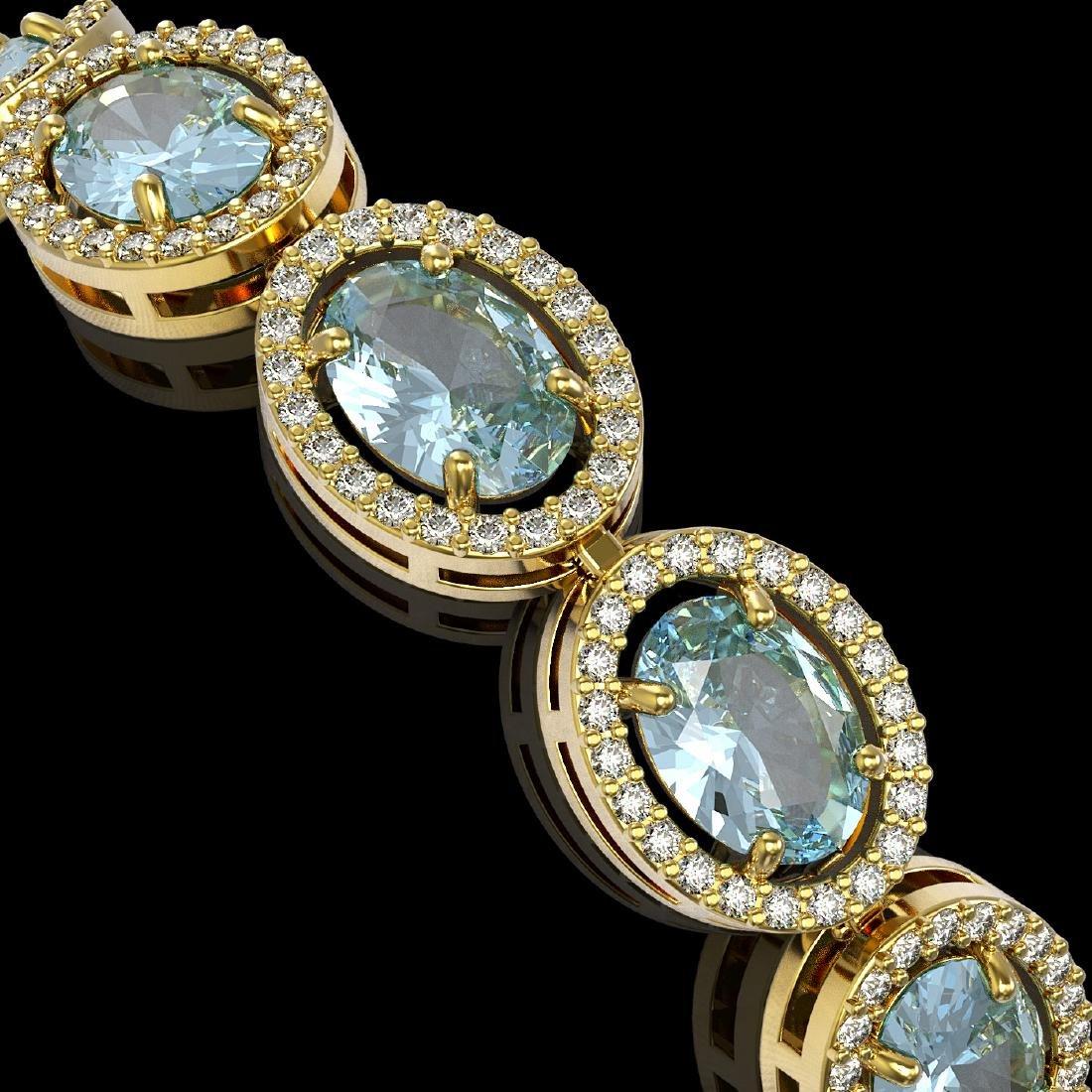 18.38 CTW Aquamarine & Diamond Halo Bracelet 10K Yellow - 3