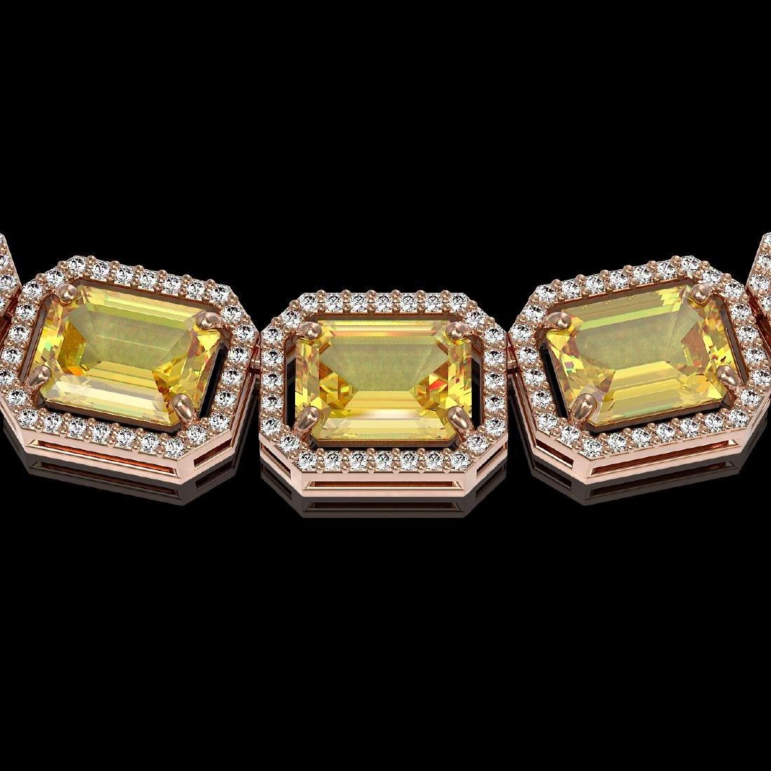 77.35 CTW Fancy Citrine & Diamond Halo Necklace 10K - 3