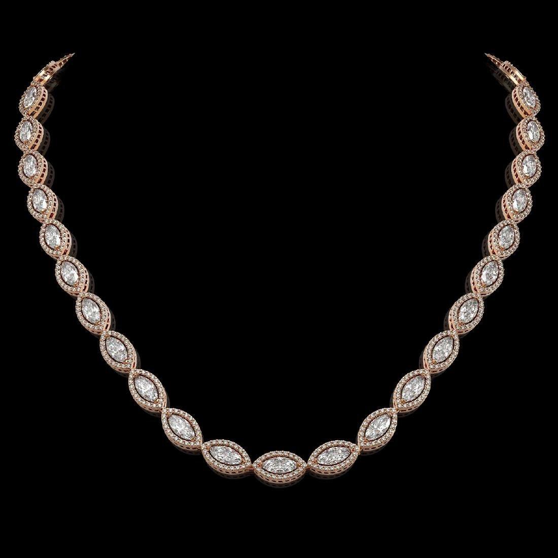 24.42 CTW Marquise Diamond Designer Necklace 18K Rose