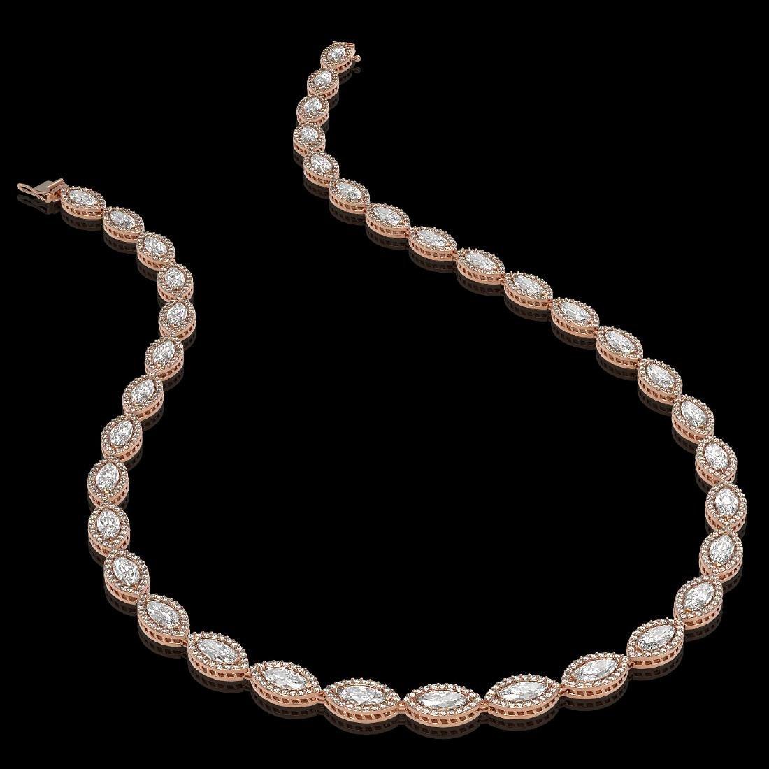 24.42 CTW Marquise Diamond Designer Necklace 18K Rose - 2