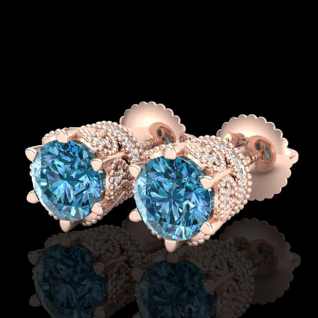 2.04 CTW Fancy Intense Blue Diamond Art Deco Stud