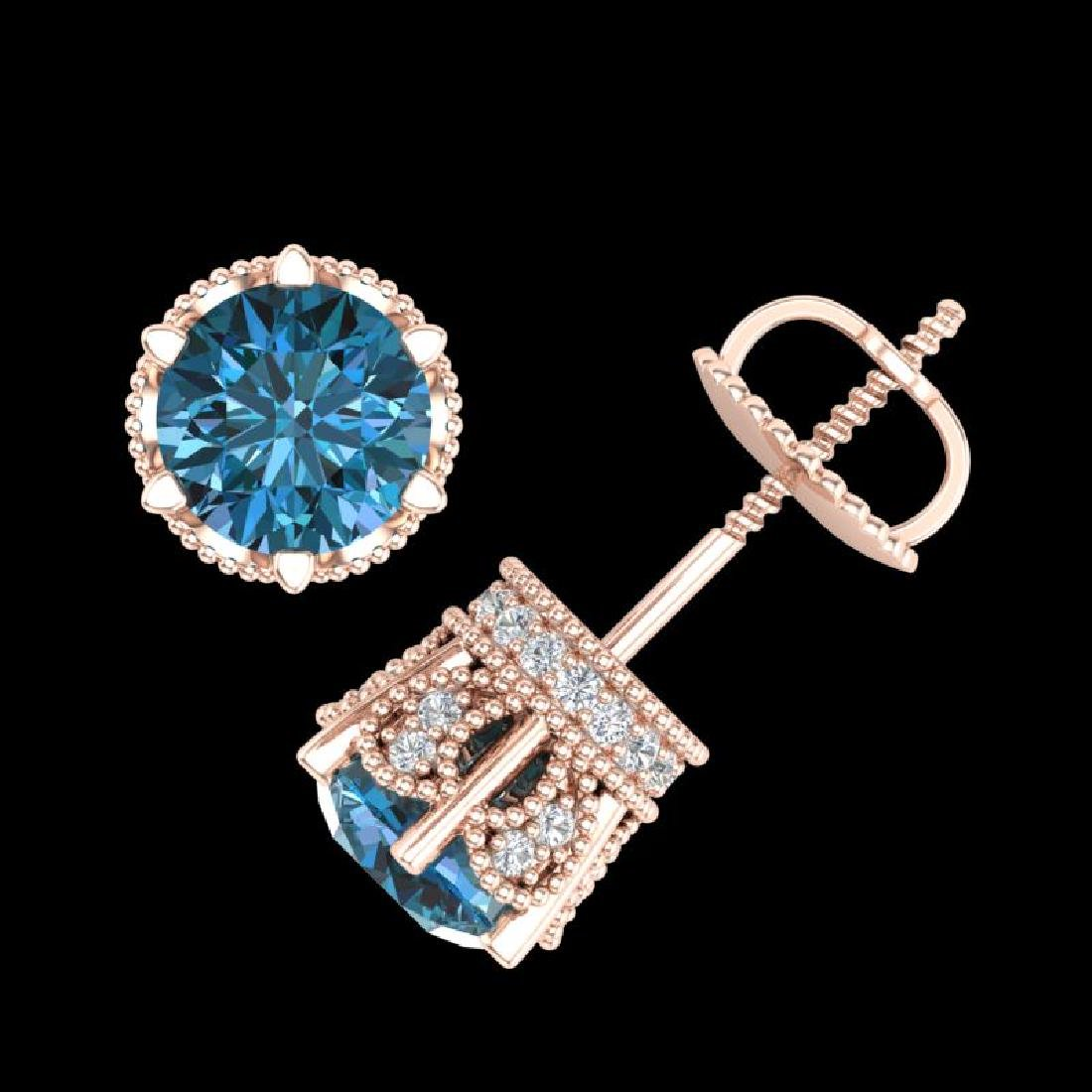 2.04 CTW Fancy Intense Blue Diamond Art Deco Stud - 3