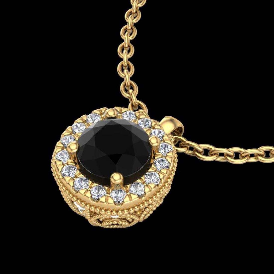1.1 CTW Fancy Black Diamond Solitaire Art Deco Stud - 2