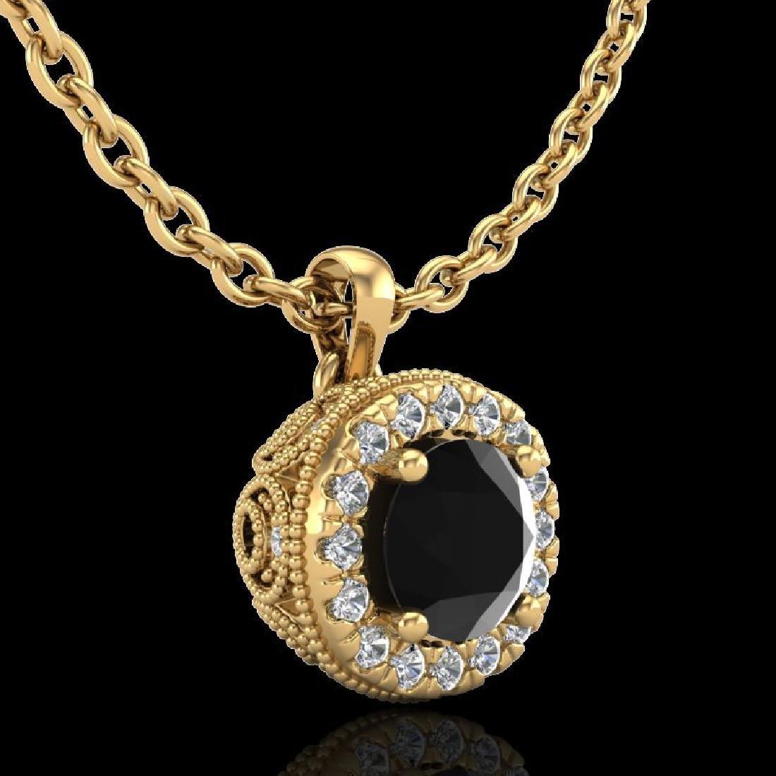 1.1 CTW Fancy Black Diamond Solitaire Art Deco Stud - 3