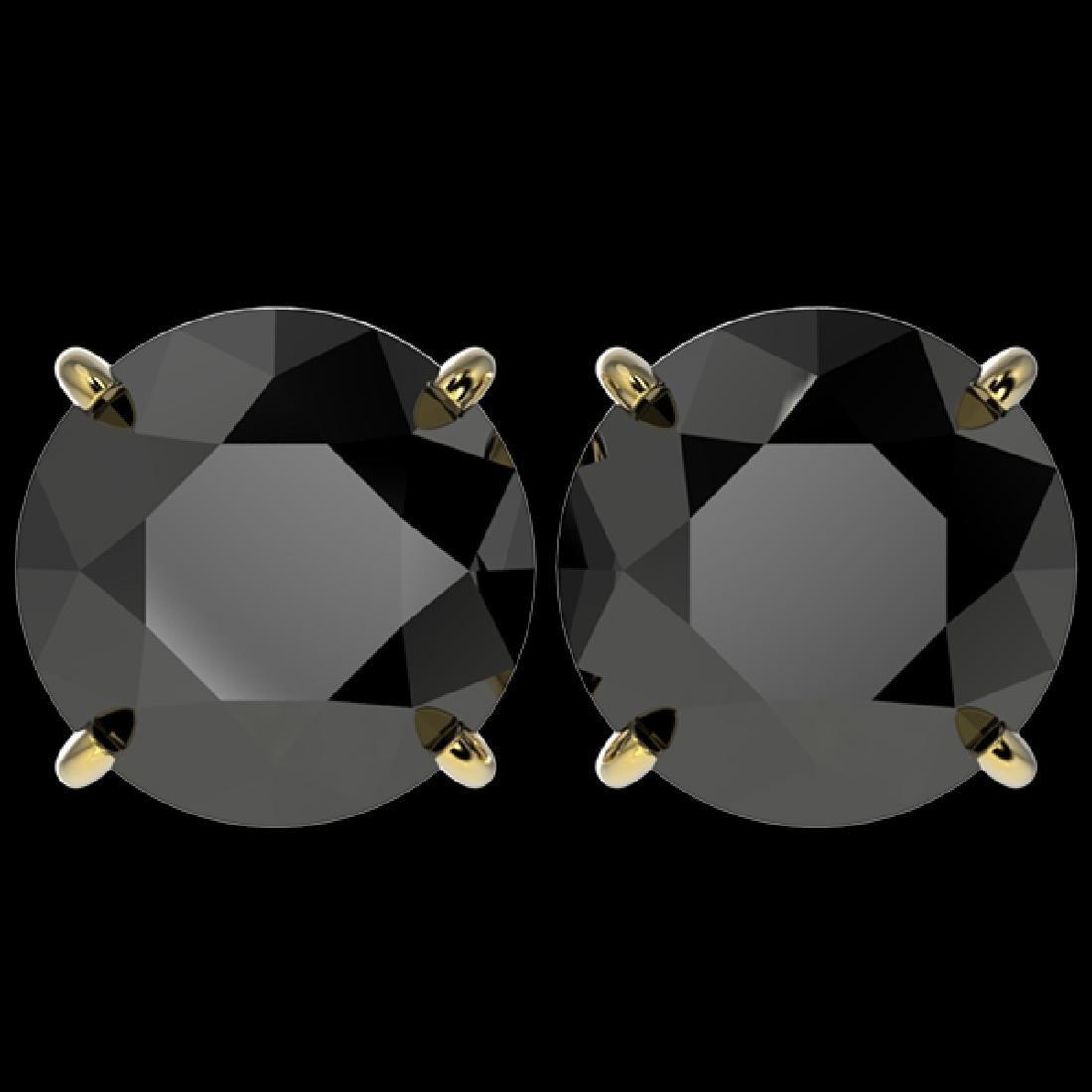 5.15 CTW Fancy Black VS Diamond Solitaire Stud Earrings