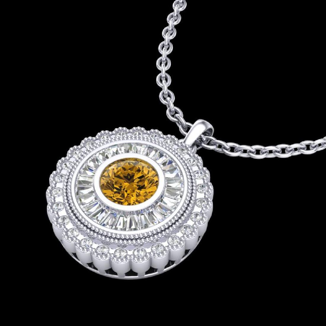 2.11 CTW Intense Fancy Yellow Diamond Art Deco Stud - 2