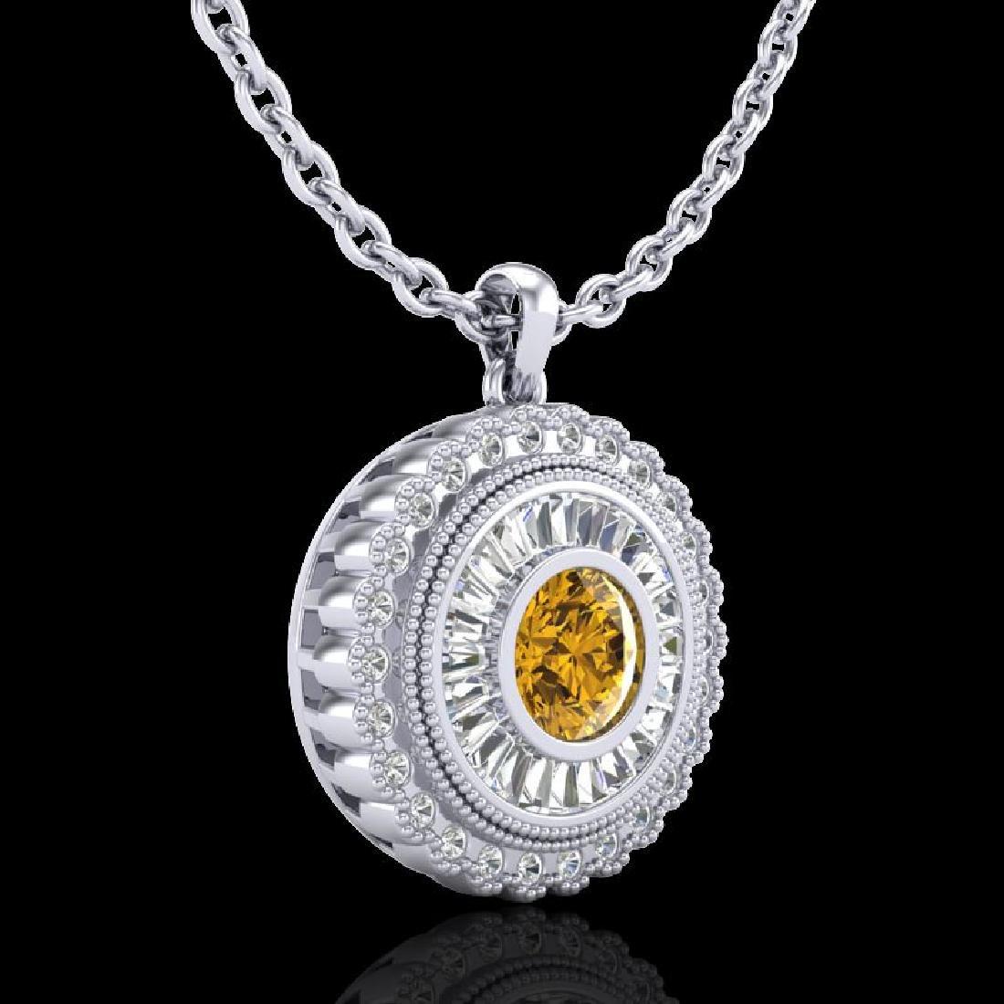 2.11 CTW Intense Fancy Yellow Diamond Art Deco Stud - 3