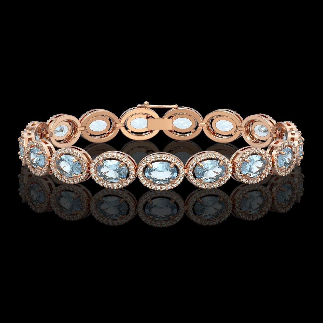 24.32 CTW Sky Topaz & Diamond Halo Bracelet 10K Rose