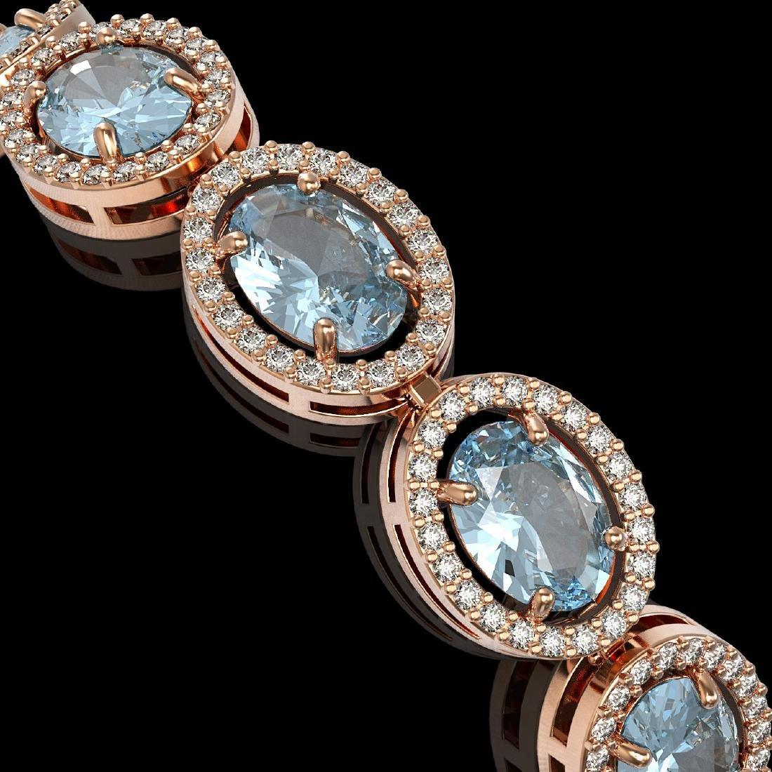 24.32 CTW Sky Topaz & Diamond Halo Bracelet 10K Rose - 3