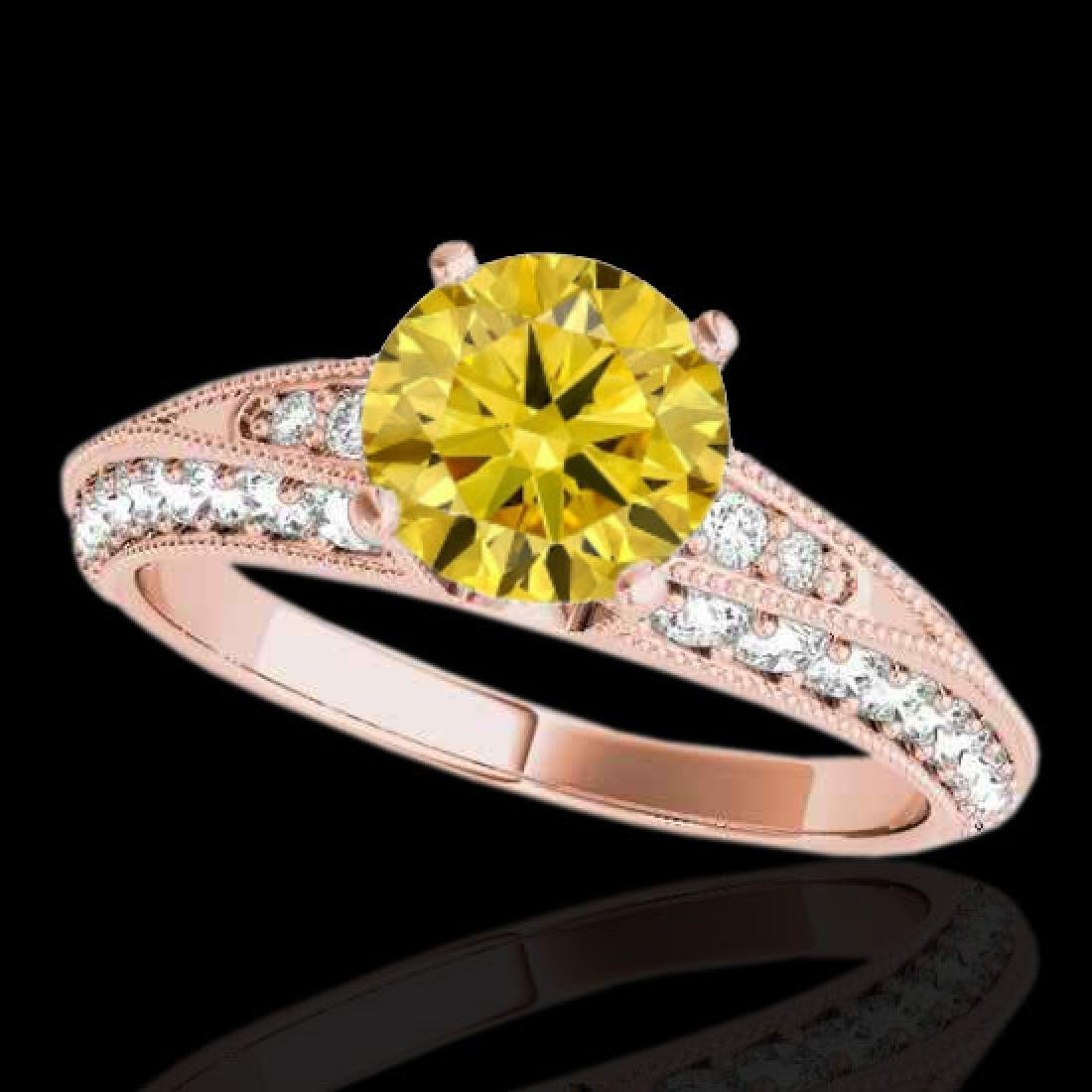 1.58 CTW Certified Si Intense Yellow Diamond Solitaire