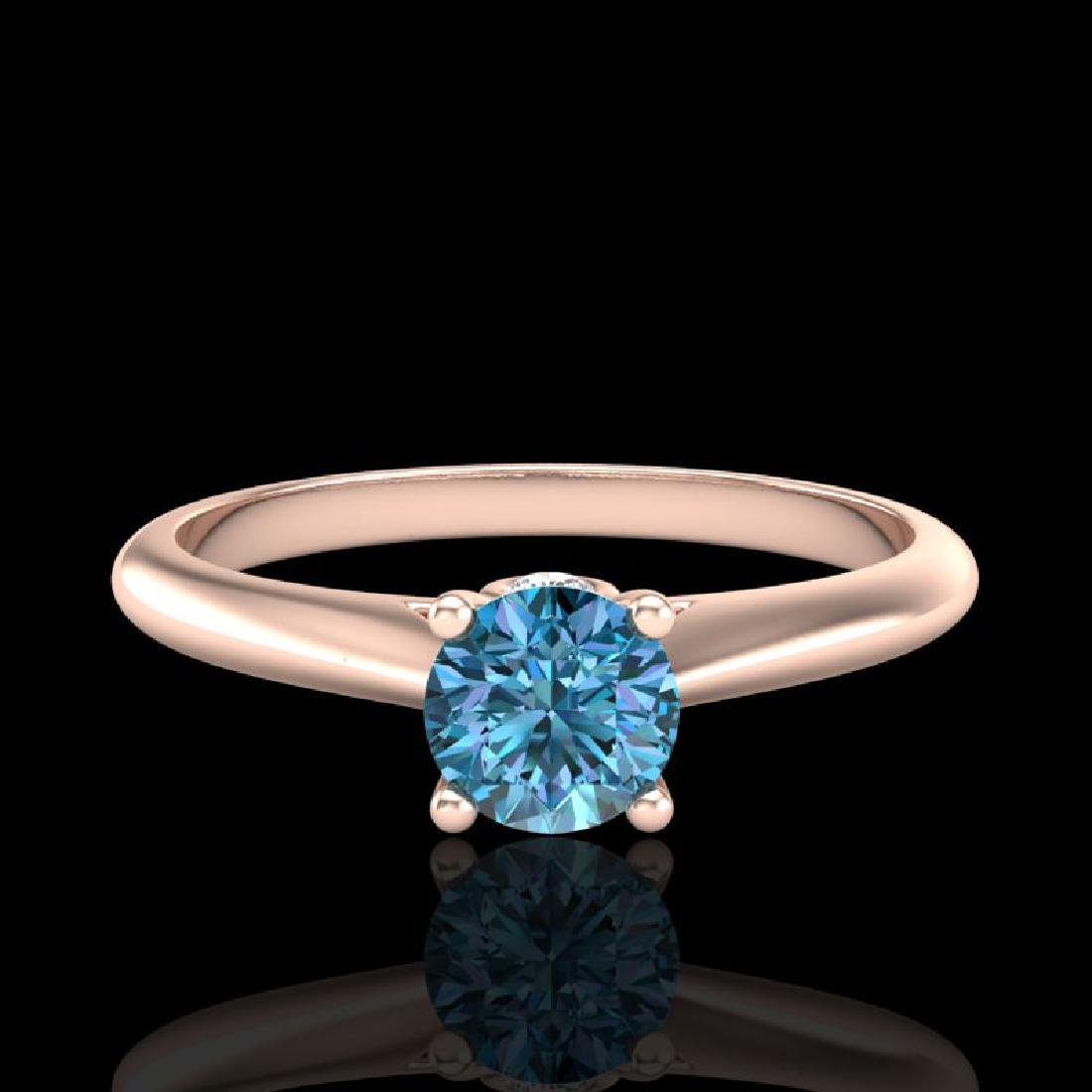 0.4 CTW Intense Blue Diamond Solitaire Engagement Art - 2
