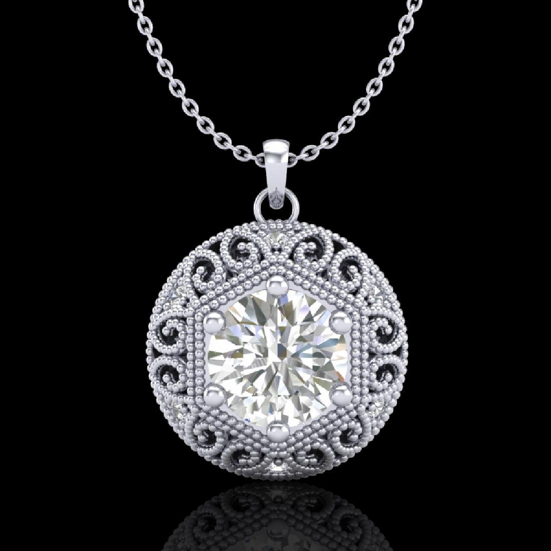 1.11 CTW VS/SI Diamond Solitaire Art Deco Stud Necklace