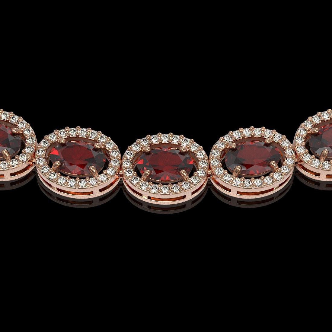 32.82 CTW Garnet & Diamond Halo Necklace 10K Rose Gold - 3