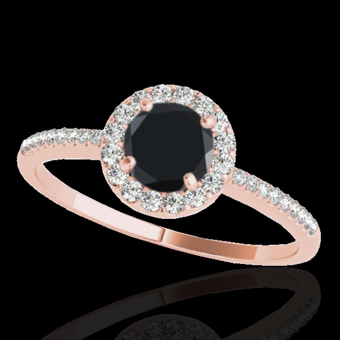 1.2 CTW Certified VS Black Diamond Solitaire Halo Ring