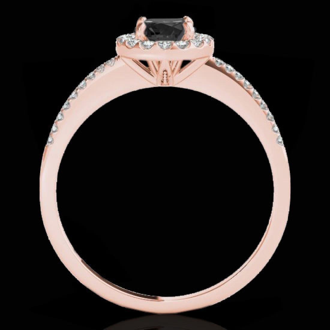 1.2 CTW Certified VS Black Diamond Solitaire Halo Ring - 2