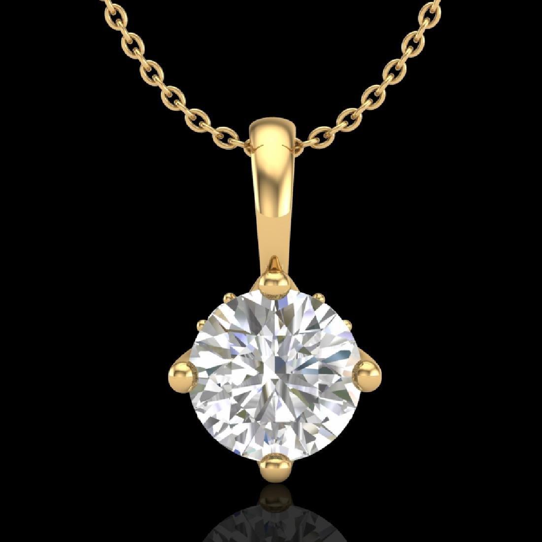 0.82 CTW VS/SI Diamond Solitaire Art Deco Necklace 18K