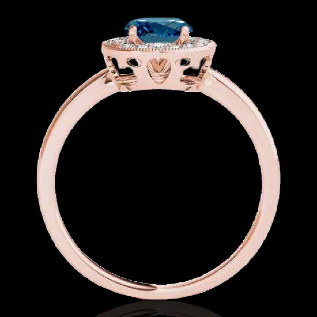 1.15 CTW SI Certified Fancy Blue Diamond Solitaire Halo - 2