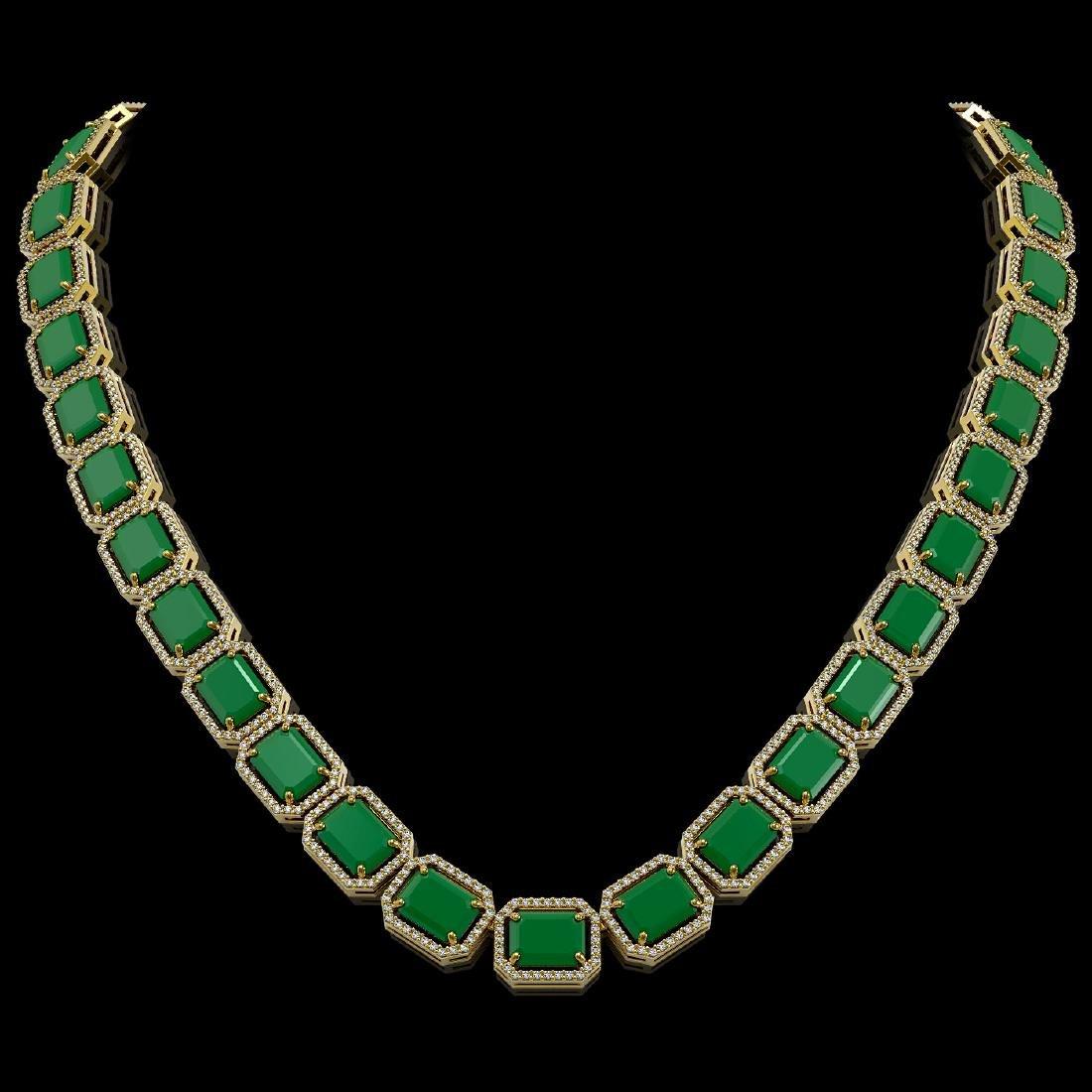84.94 CTW Emerald & Diamond Halo Necklace 10K Yellow