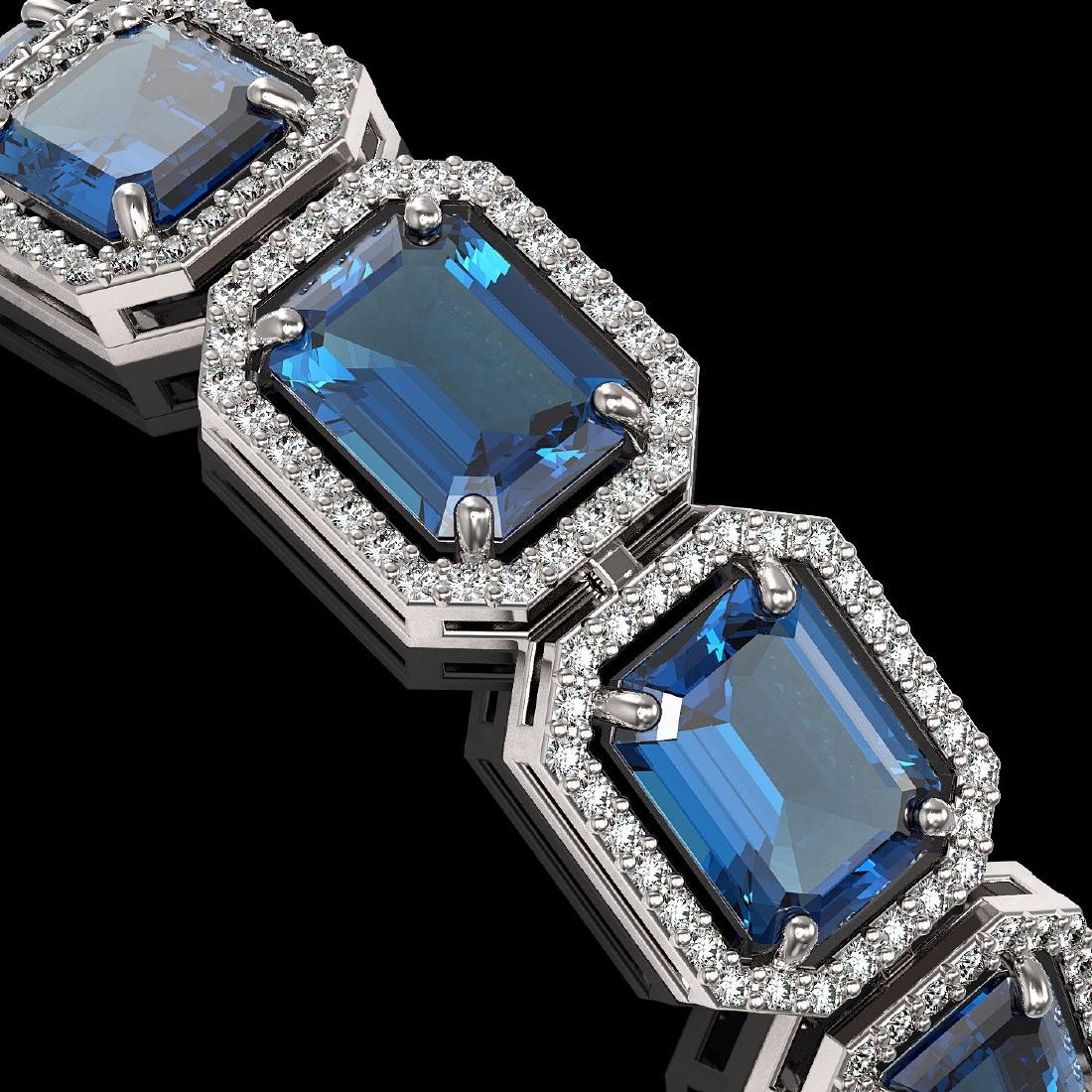 35.61 CTW London Topaz & Diamond Halo Bracelet 10K - 3