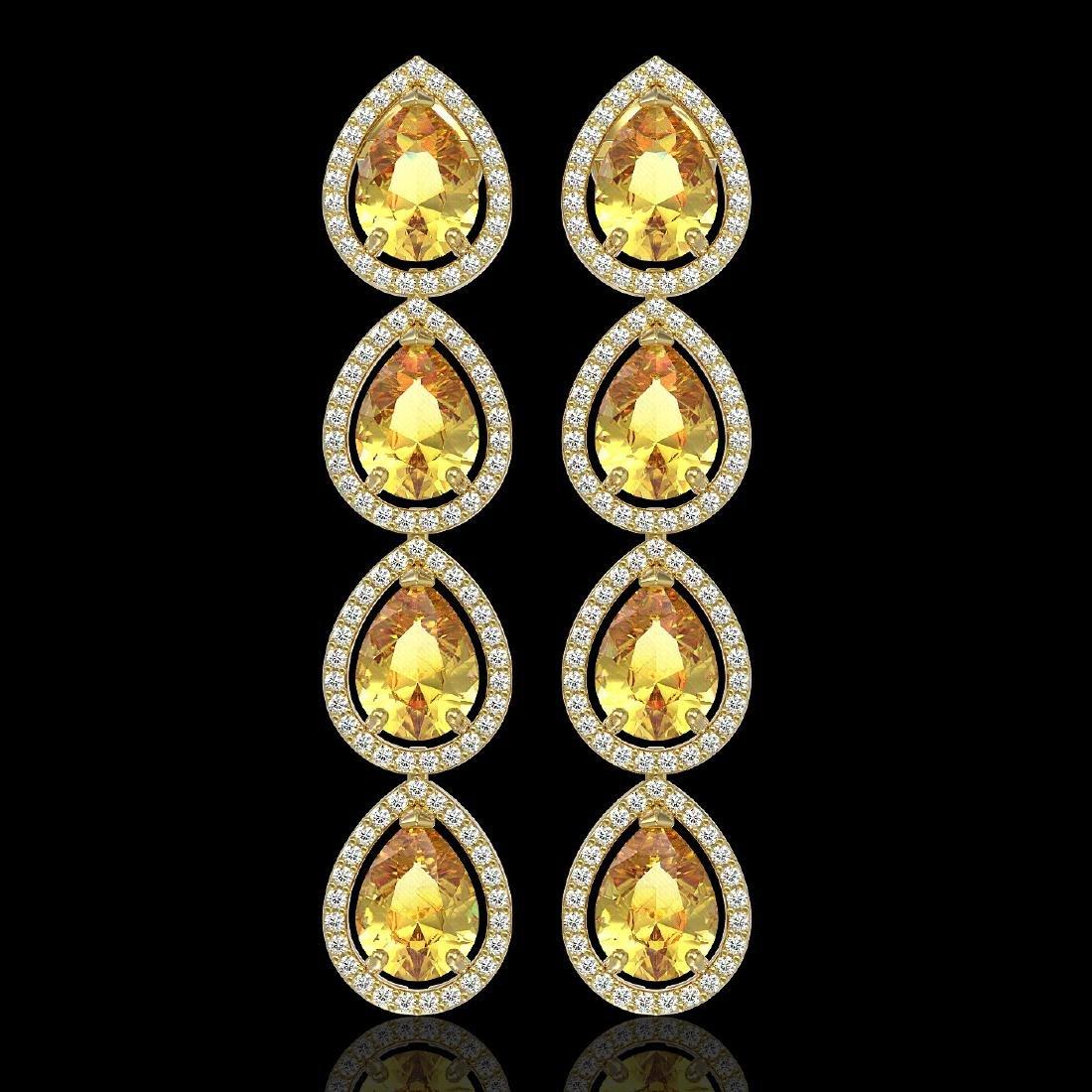 9.2 CTW Fancy Citrine & Diamond Halo Earrings 10K