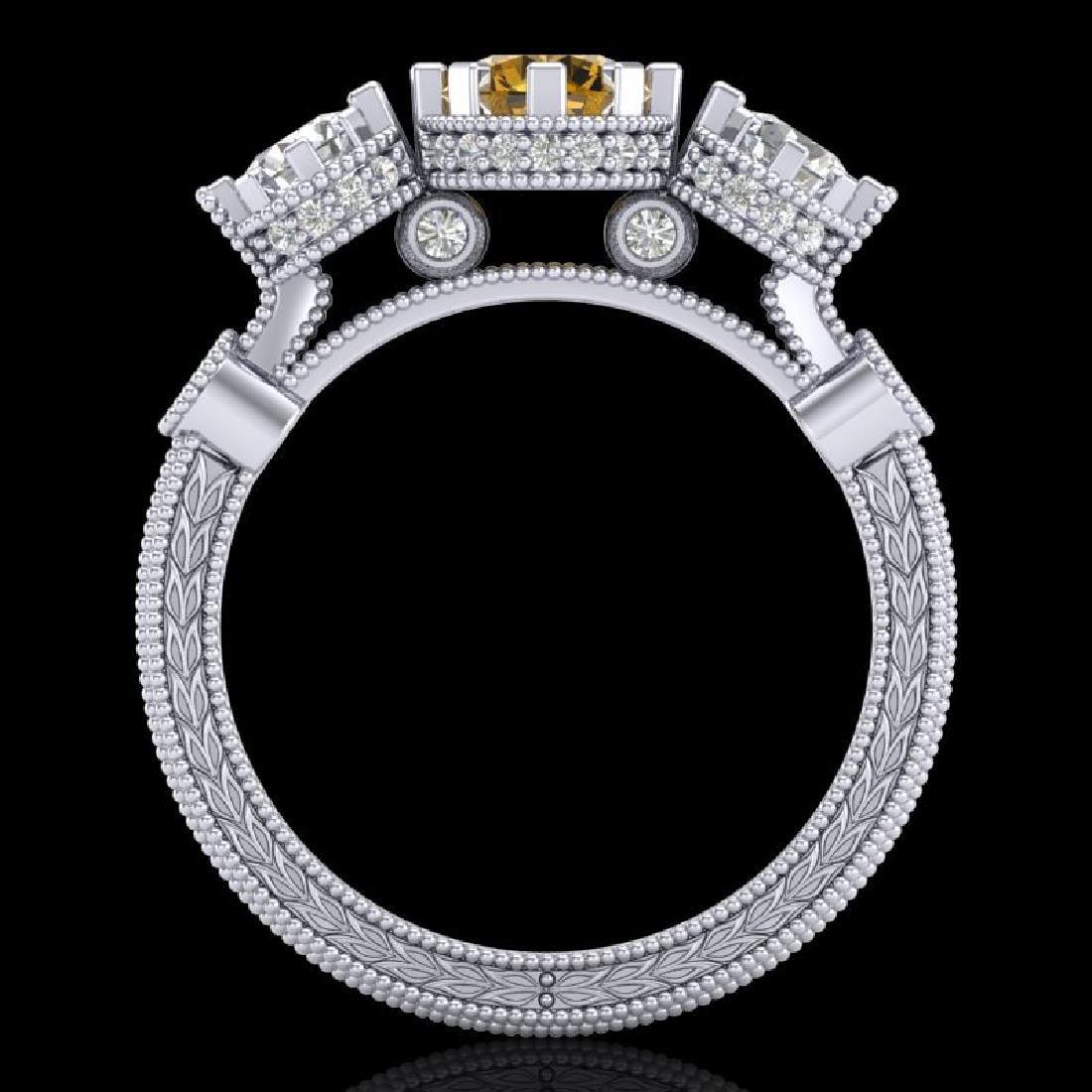 1.75 CTW Intense Fancy Yellow Diamond Art Deco 3 Stone - 3