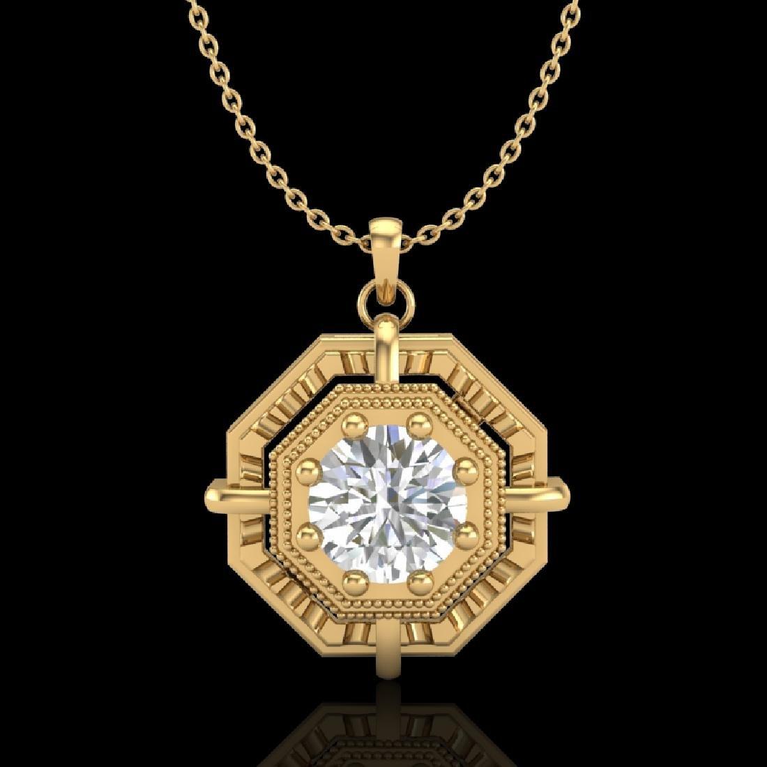 0.75 CTW VS/SI Diamond Art Deco Stud Necklace 18K