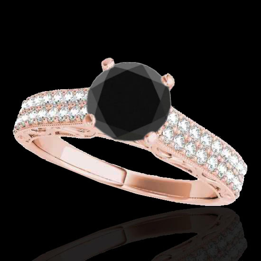 1.41 CTW Certified VS Black Diamond Solitaire Antique