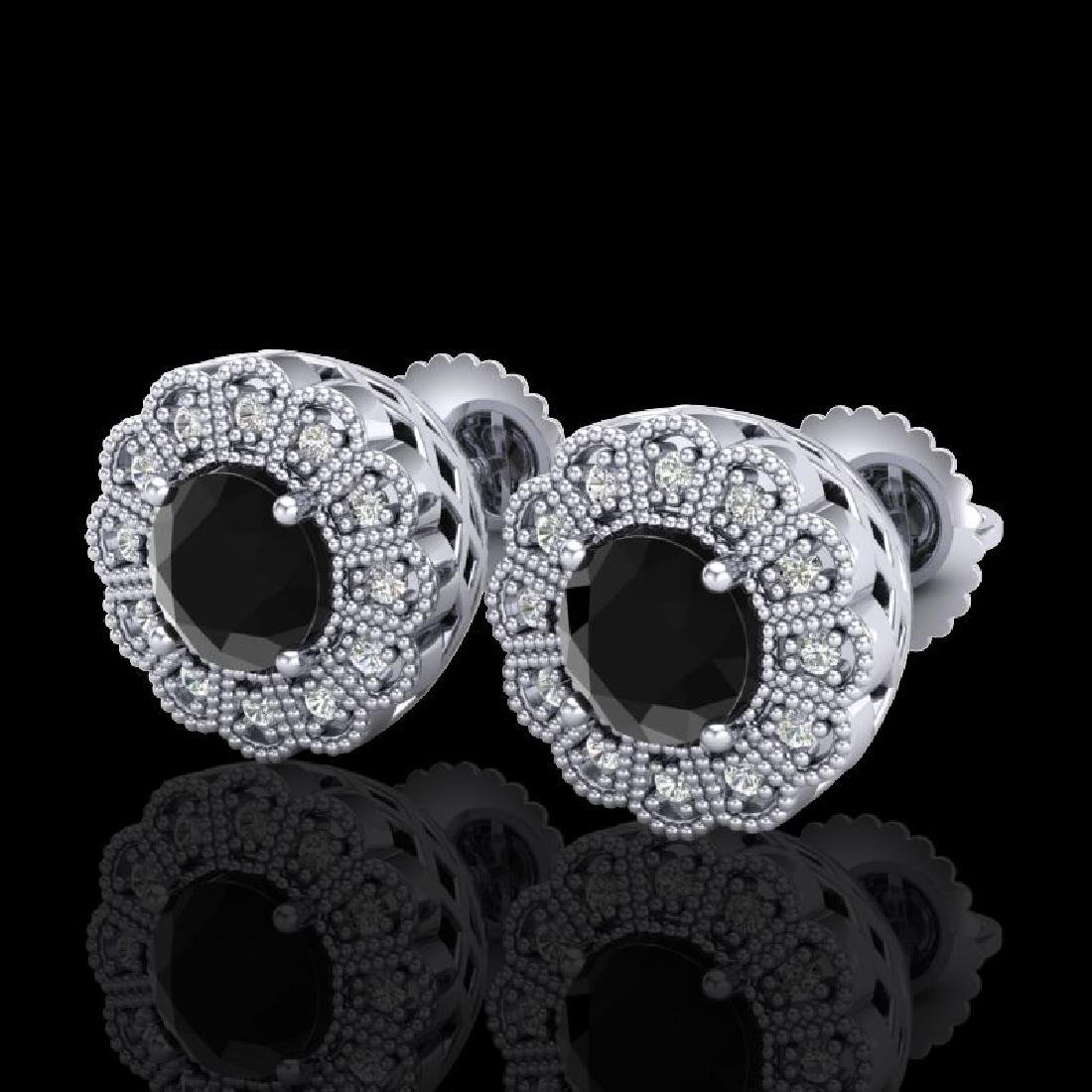 1.32 CTW Fancy Black Diamond Solitaire Art Deco Stud