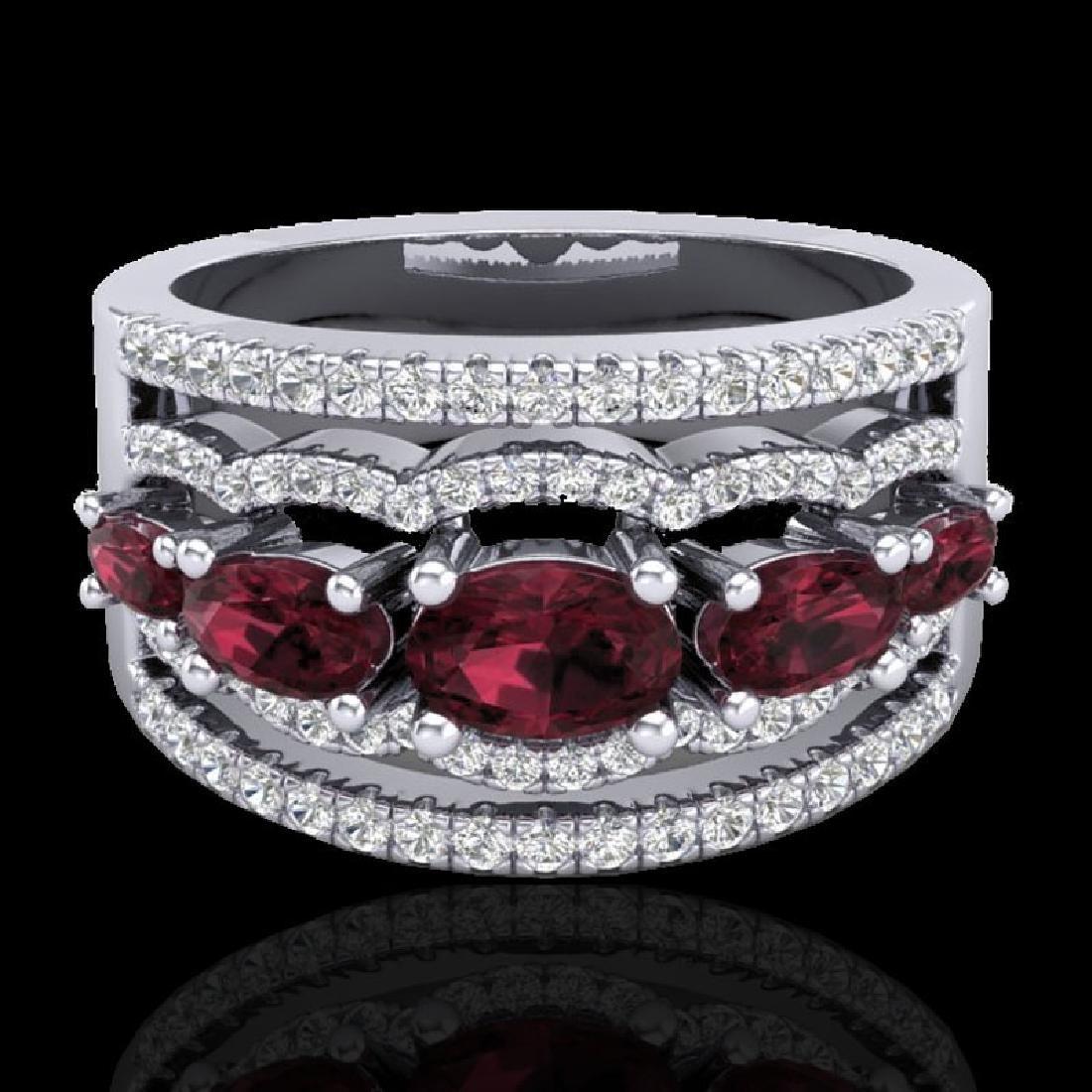 2.25 CTW Garnet & Micro Pave VS/SI Diamond Designer