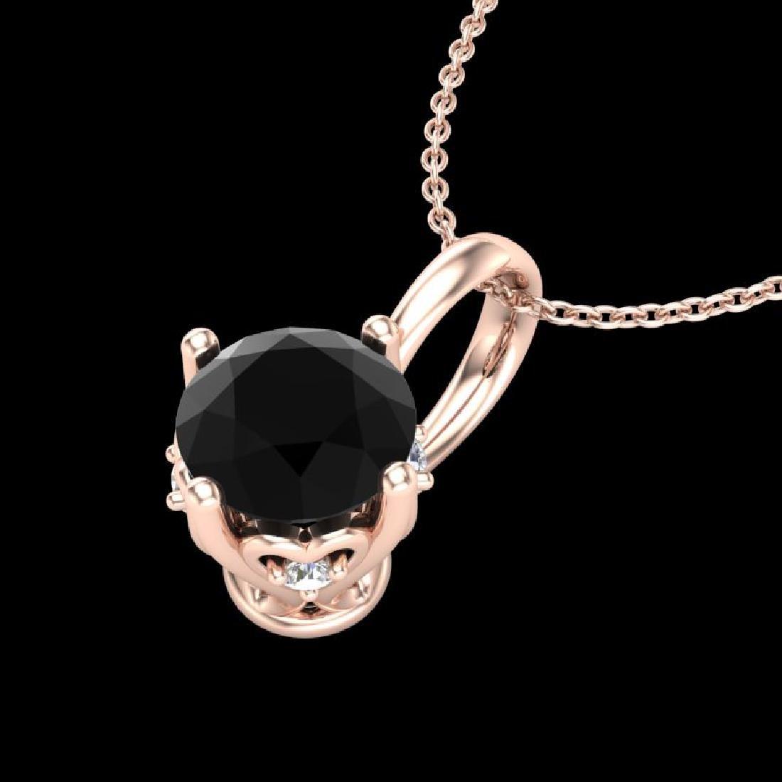 0.62 CTW Fancy Black Diamond Solitaire Art Deco Stud - 2