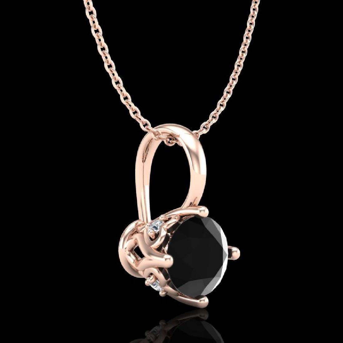 0.62 CTW Fancy Black Diamond Solitaire Art Deco Stud - 3
