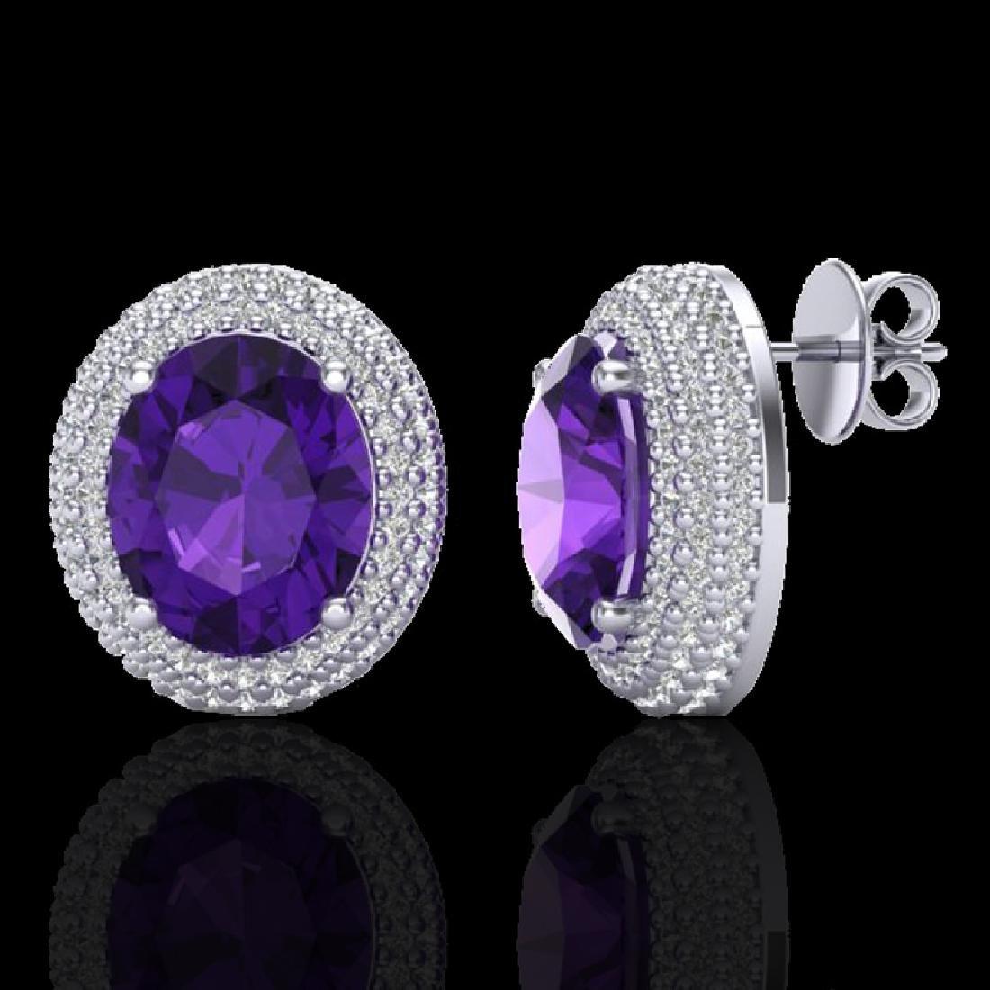 8 CTW Amethyst & Micro Pave VS/SI Diamond Earrings 18K - 2