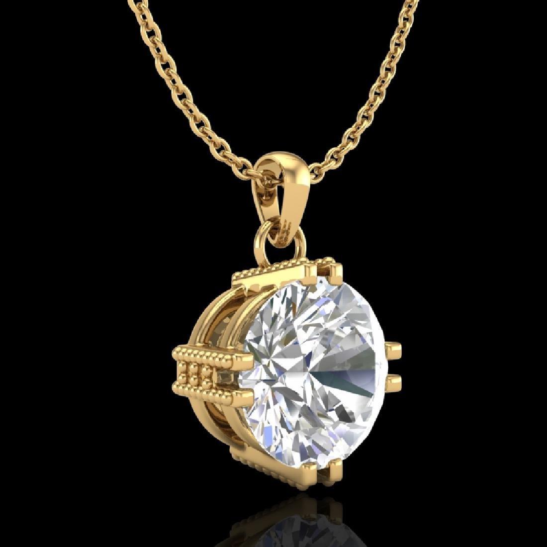 1 CTW VS/SI Diamond Solitaire Art Deco Stud Necklace - 3