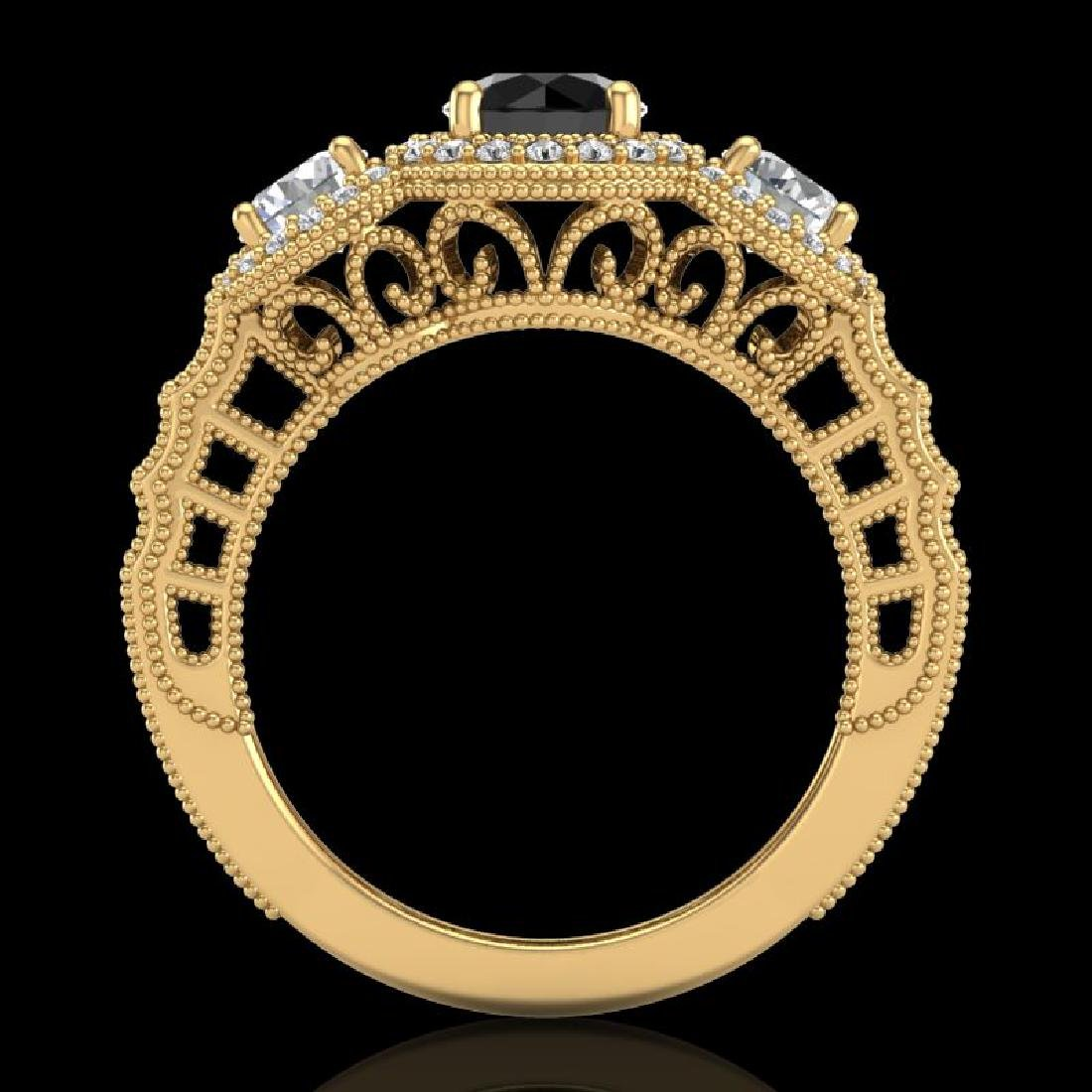 2.16 CTW Fancy Black Diamond Solitaire Art Deco 3 Stone - 3