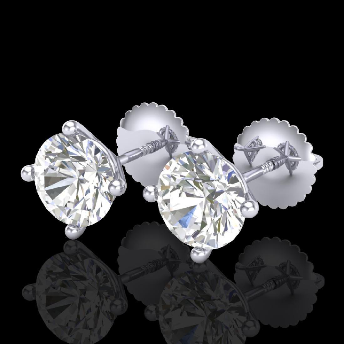 2 CTW VS/SI Diamond Solitaire Art Deco Stud Earrings