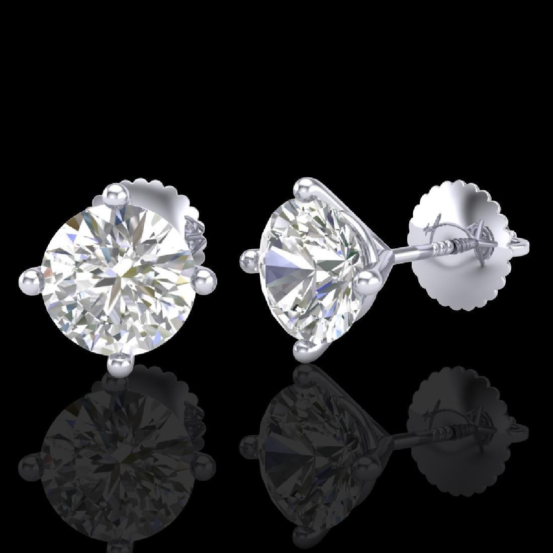 2 CTW VS/SI Diamond Solitaire Art Deco Stud Earrings - 2