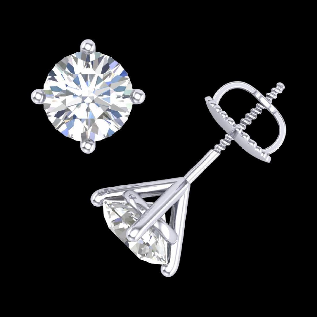 2 CTW VS/SI Diamond Solitaire Art Deco Stud Earrings - 3